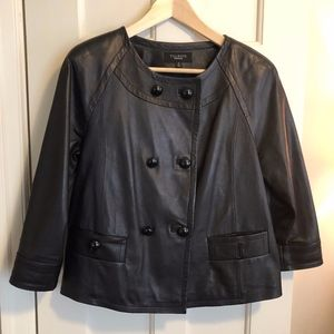 Talbots Leather Jacket, Double Breasted, Black